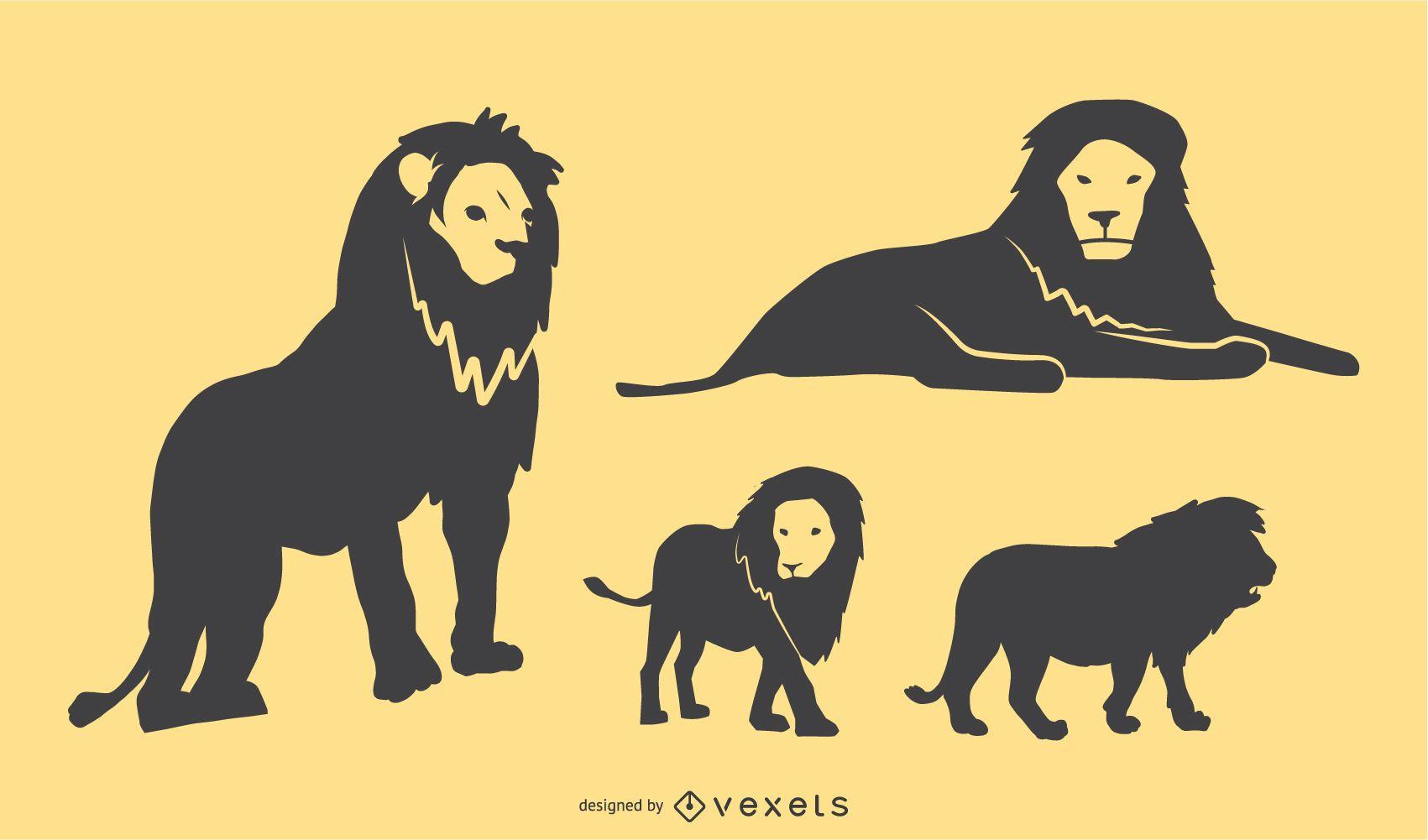 Conjunto de diseño de silueta de león
