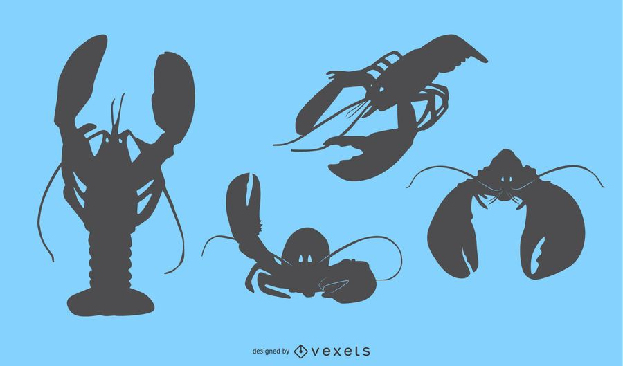 Lobster Silhouette Design Set
