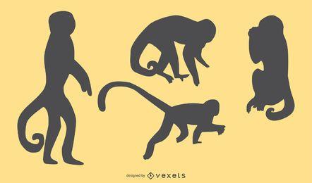Conjunto de diseño de silueta de mono