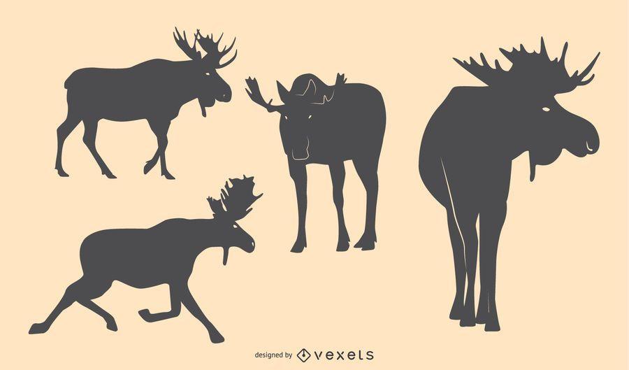 Moose Silhouette Design Set
