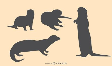 Otter Silhouette Design Set