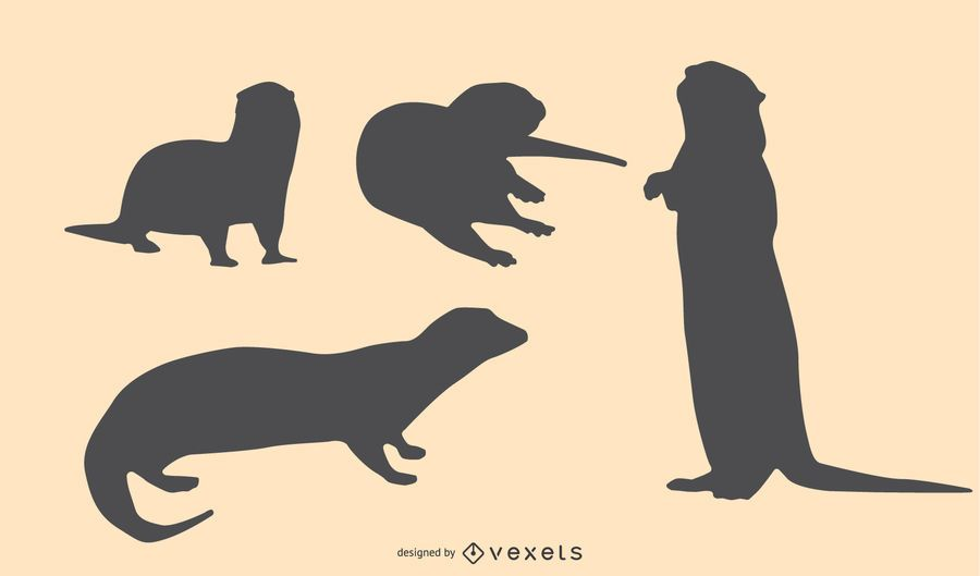 Otter Silhouette Design Set