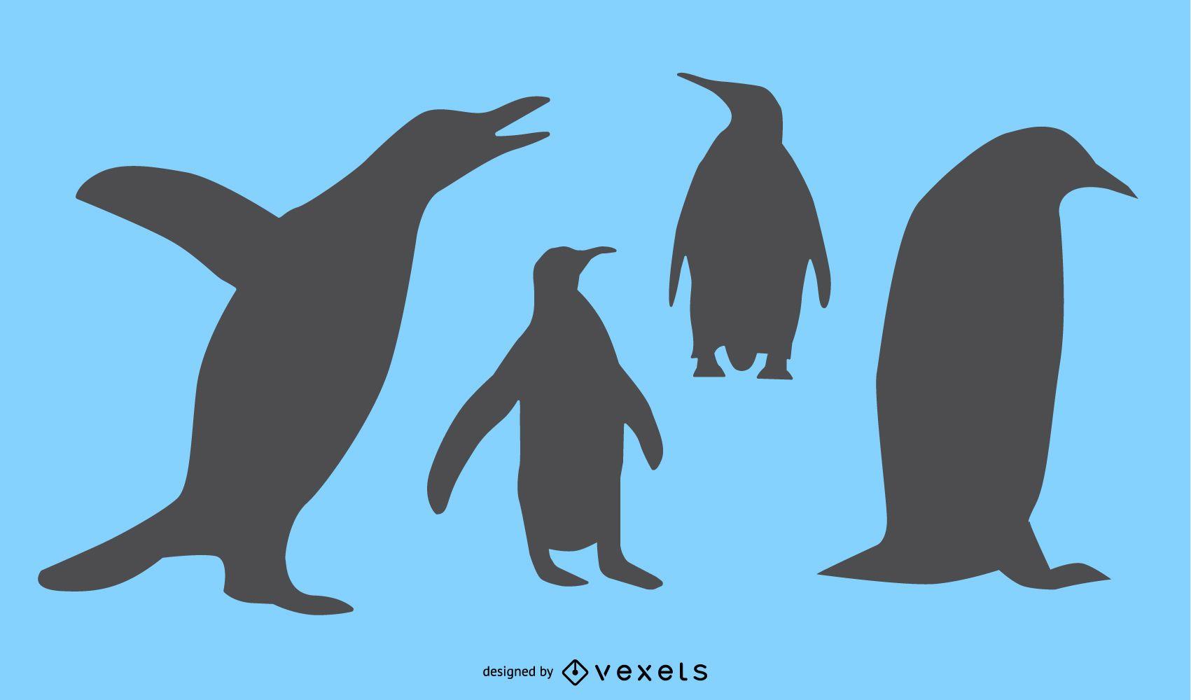 Conjunto de diseño de silueta de pingüino