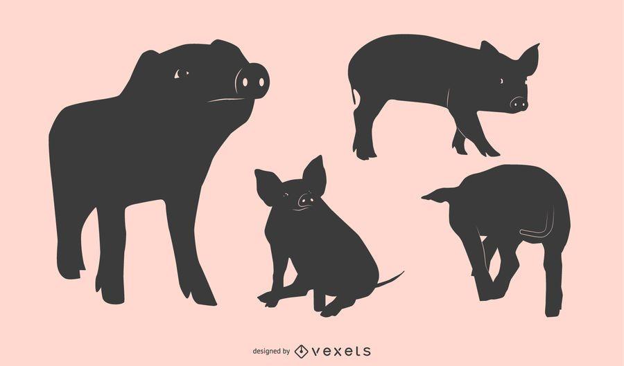 Schwein Silhouette Design Set