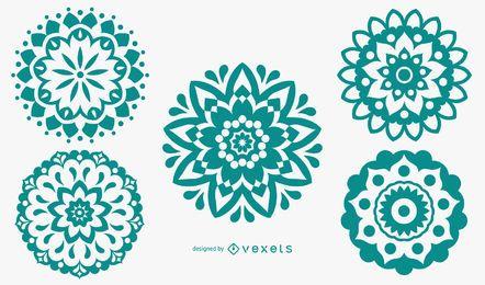 Conjunto de silueta de patrón de Mandala