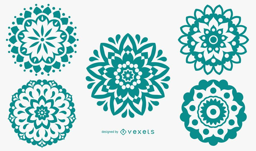 Mandala Pattern Silhouette Set