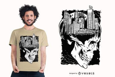 Design de camiseta com caveira da cidade