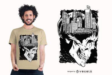 Projeto do t-shirt do crânio da cidade