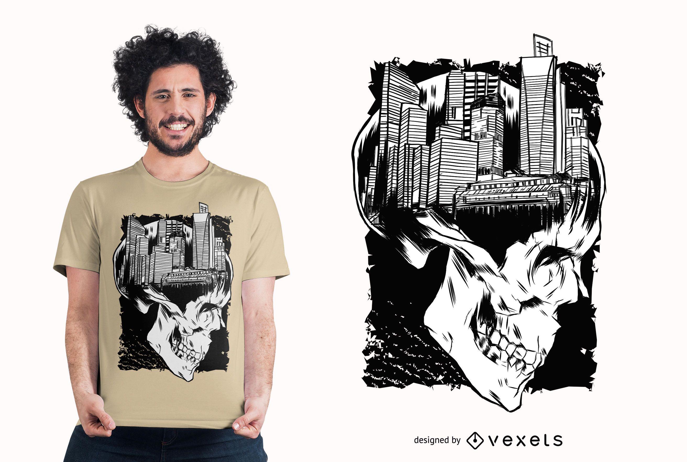 City skull t-shirt design