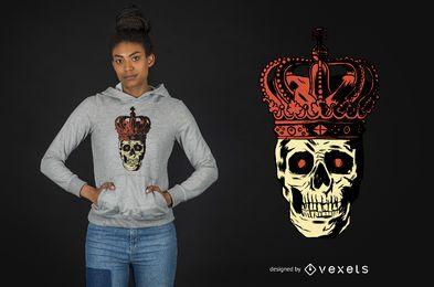 Projeto do t-shirt do crânio da coroa