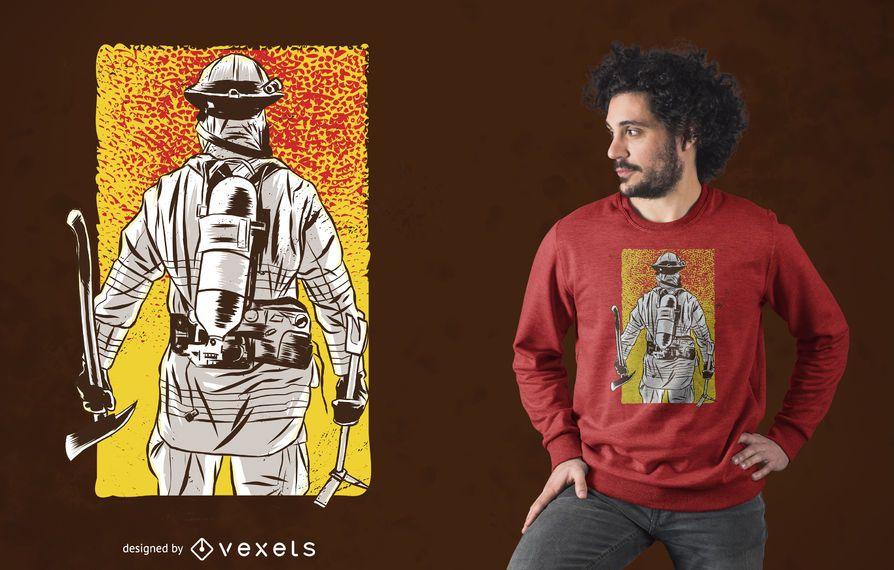 Projeto do t-shirt do sapador-bombeiro