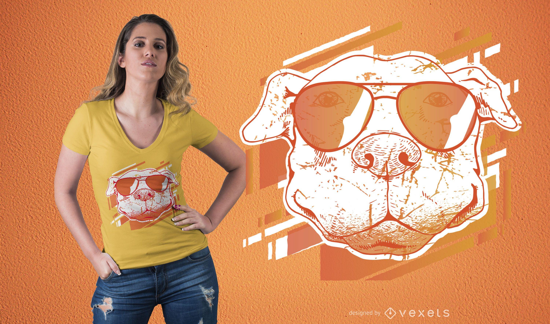 Dog with sunglasses t-shirt design