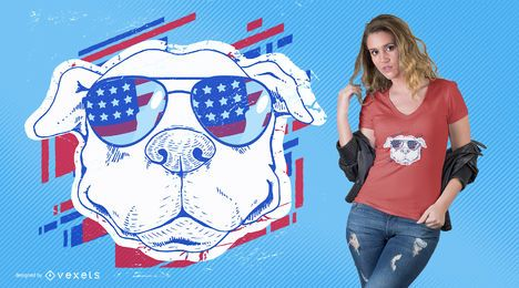 American dog with sunglasses