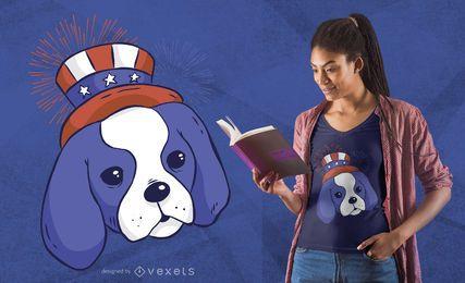 Diseño de camiseta cachorro americano