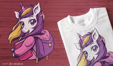 Diseño de camiseta escolar unicornio.