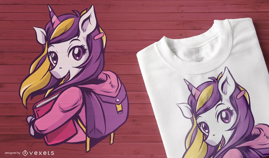 School unicorn t-shirt design