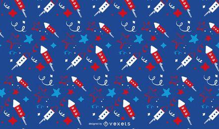Foguete colorido e padrão de estrelas