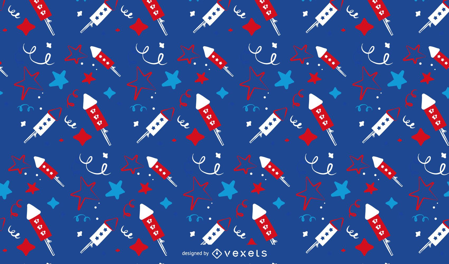 Colorful rocket and star pattern