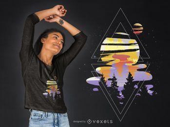 Kosmischer Holz-T-Shirt Entwurf
