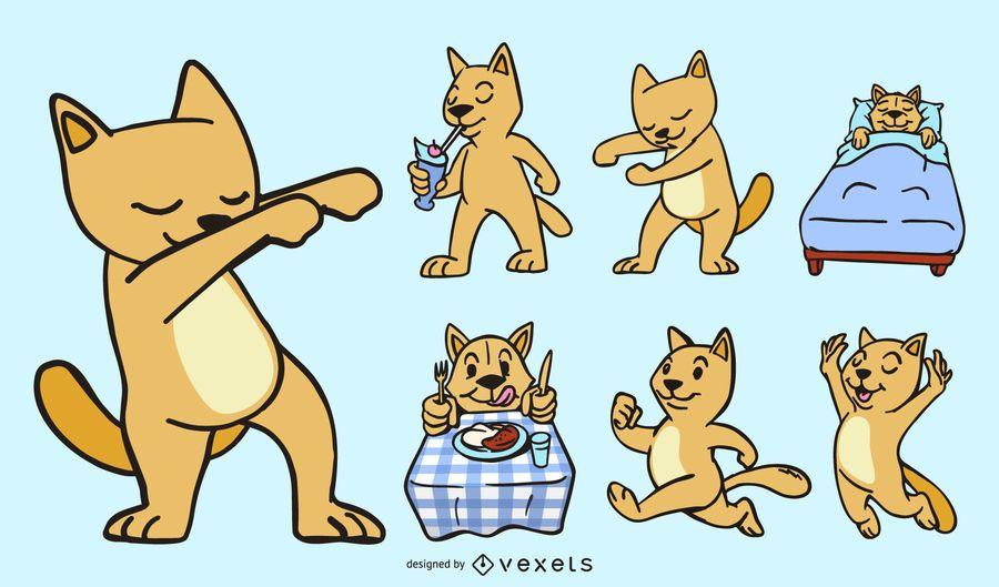Funny cartoon cat set