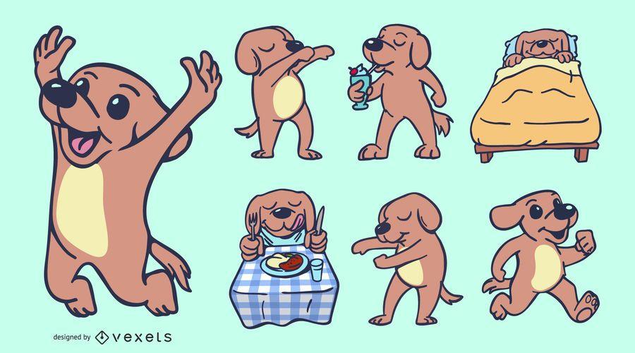 Süße Hund Gekritzel Illustrationen