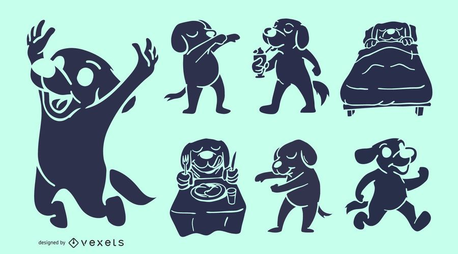 Conjunto de siluetas de perro de dibujos animados