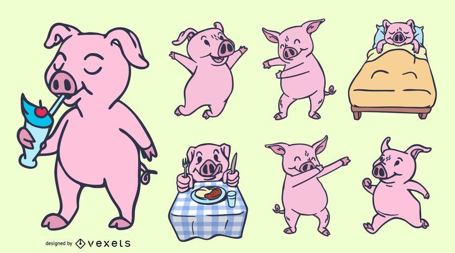 Conjunto de diseño de silueta de cerdo divertido