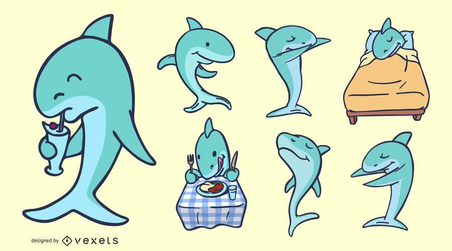 Conjunto de Design de silhueta de tubarão engraçado