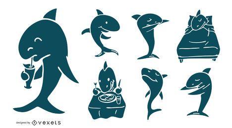 Coleção de silhueta de tubarão