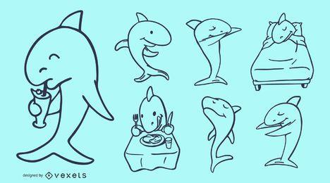 Doodles de desenhos animados de tubarão
