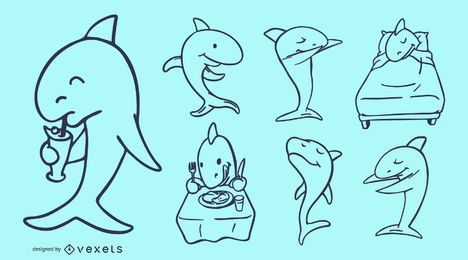 Shark Cartoon Doodles