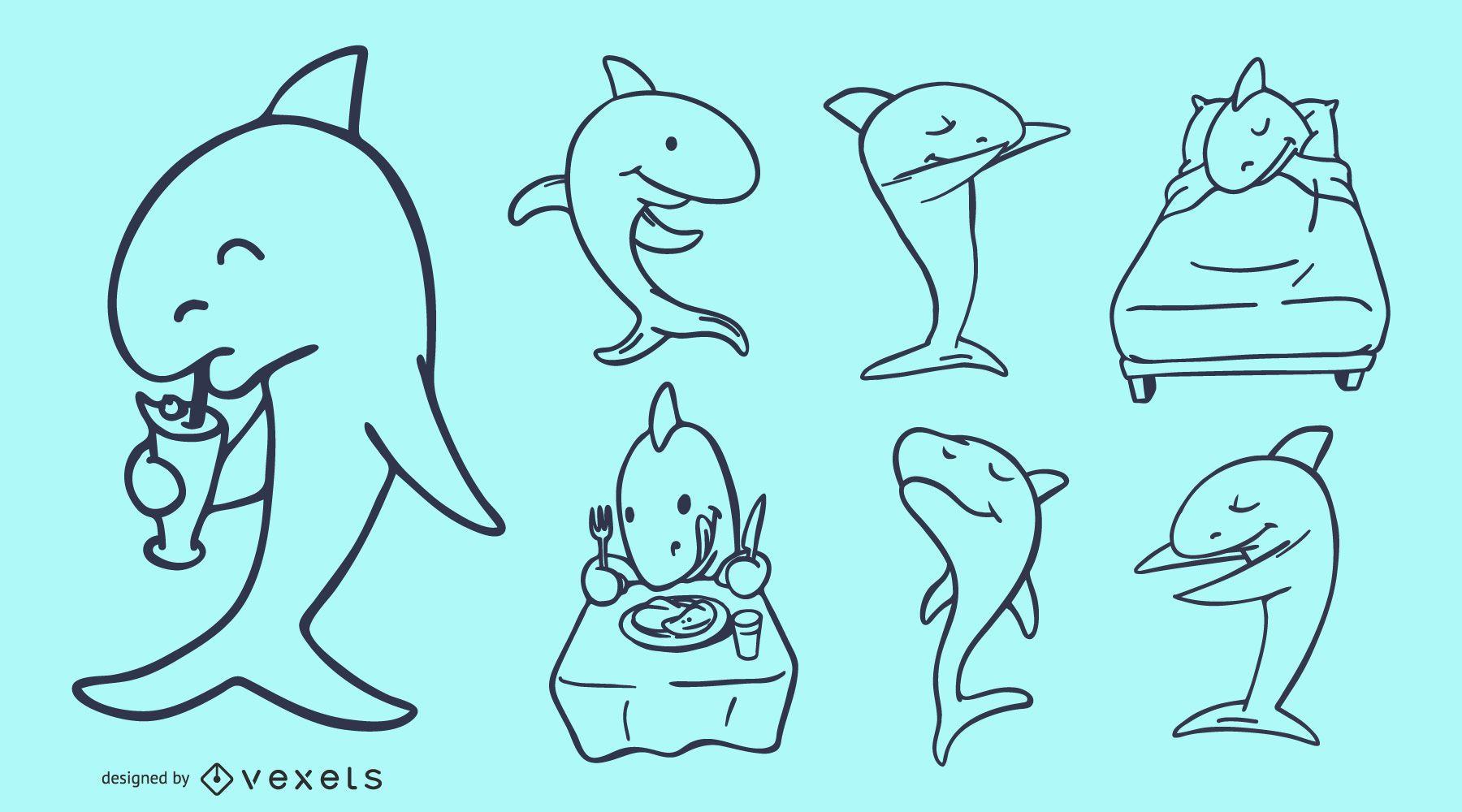 Shark Cartoon Doodles