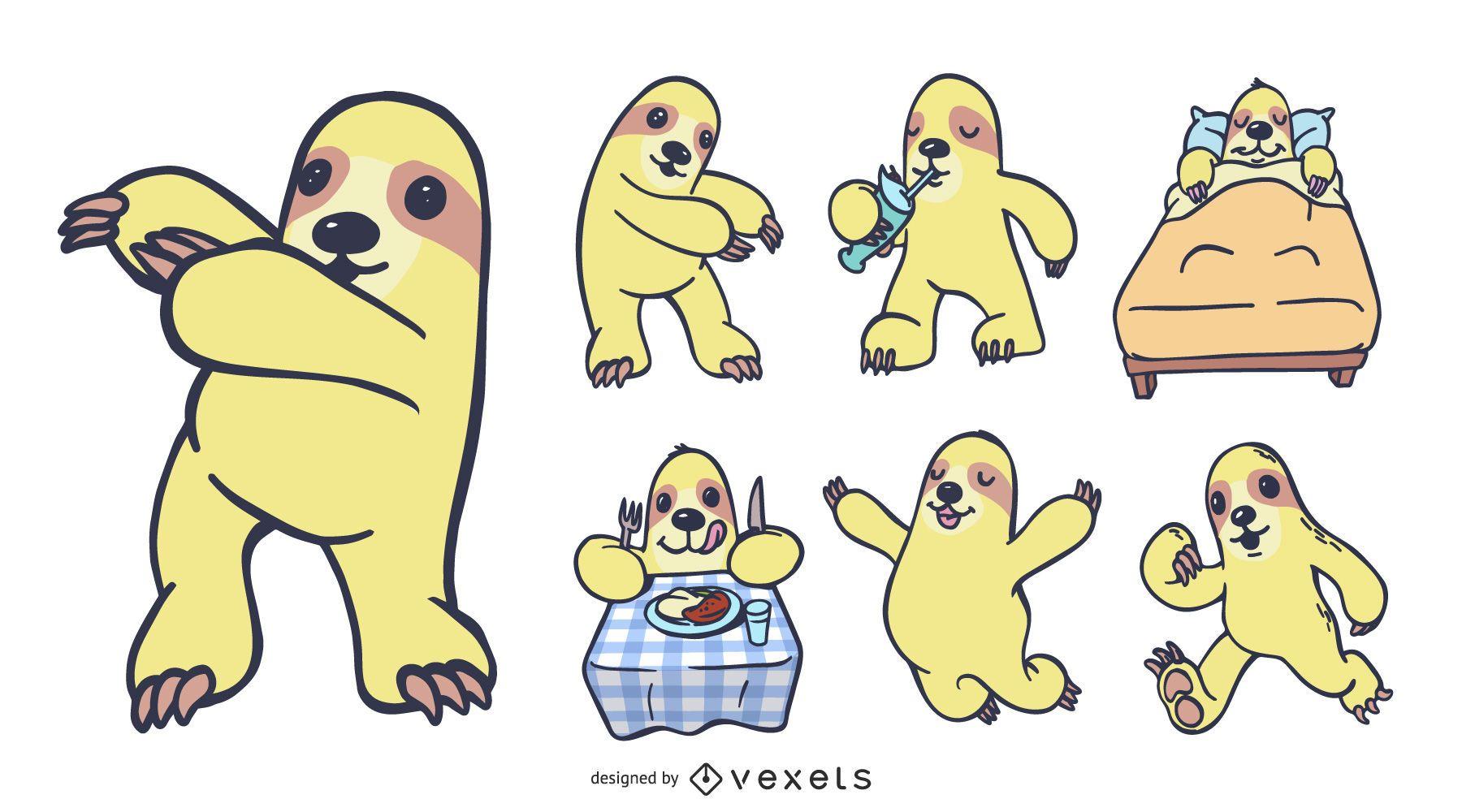 Conjunto de vetores de desenho animado da preguiça