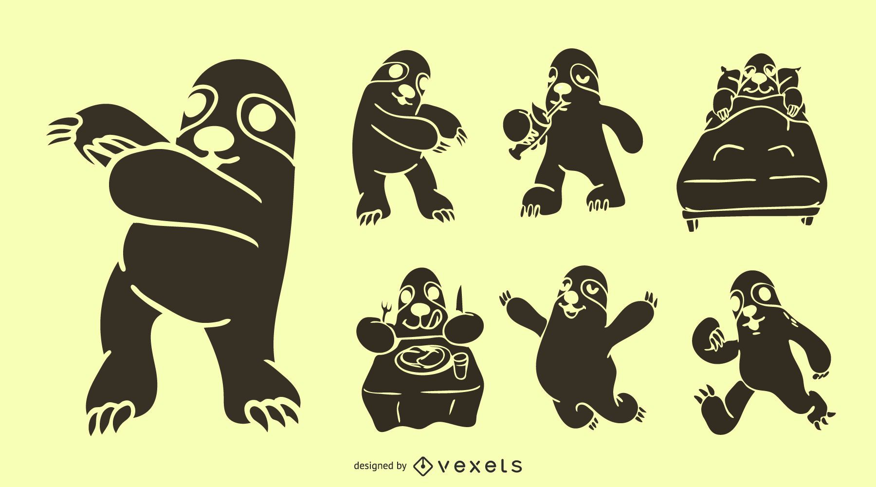 Sloth Actions Vector Set