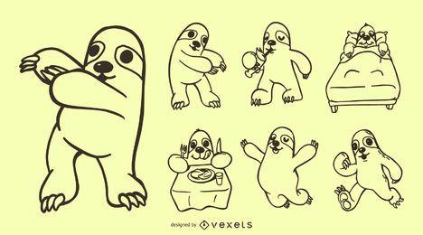 Coleção de Doodle de preguiça