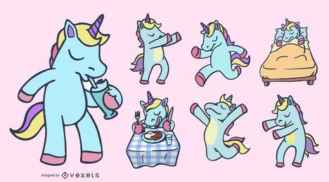 Conjunto de ilustración de color unicornio