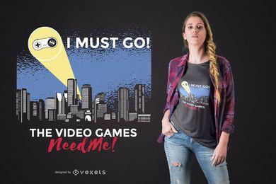 Diseño de camiseta con señal gamer.