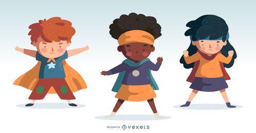 Set de diseño de dibujos animados para niños SuperHero