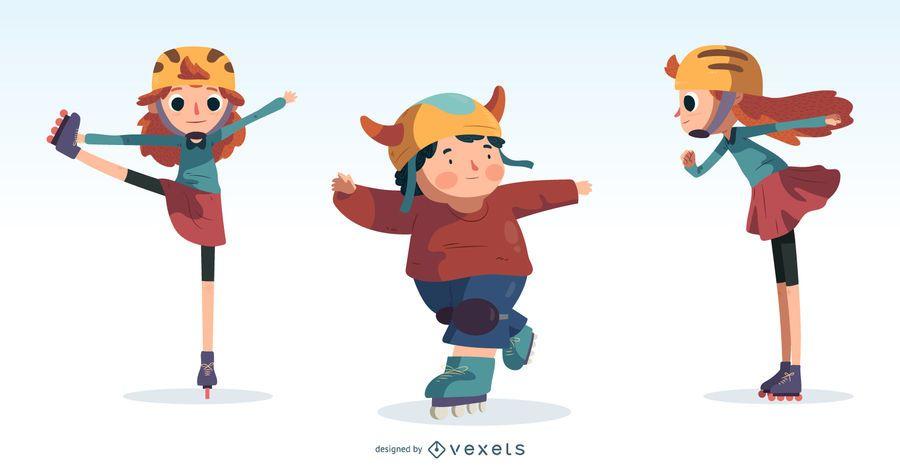 Kids Ice Skating Cartoon Design Set