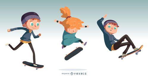 Set de diseño de dibujos animados para niños de Skateboarding