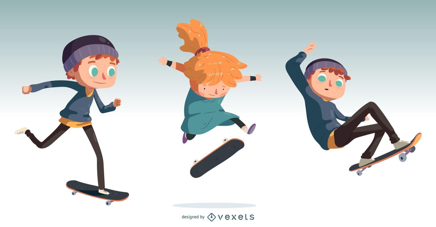 Kids Skateboarding Cartoon Design Set