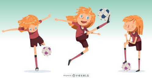 Ilustração de jogador de futebol de menina pequena