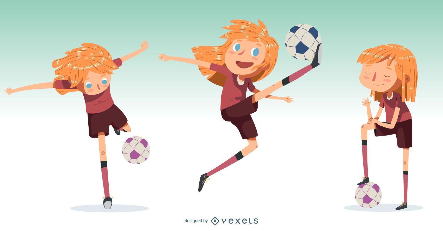 Little Girl Football Player Illustration