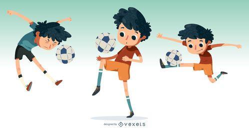 Kleiner Junge, der Fußball-Illustration spielt