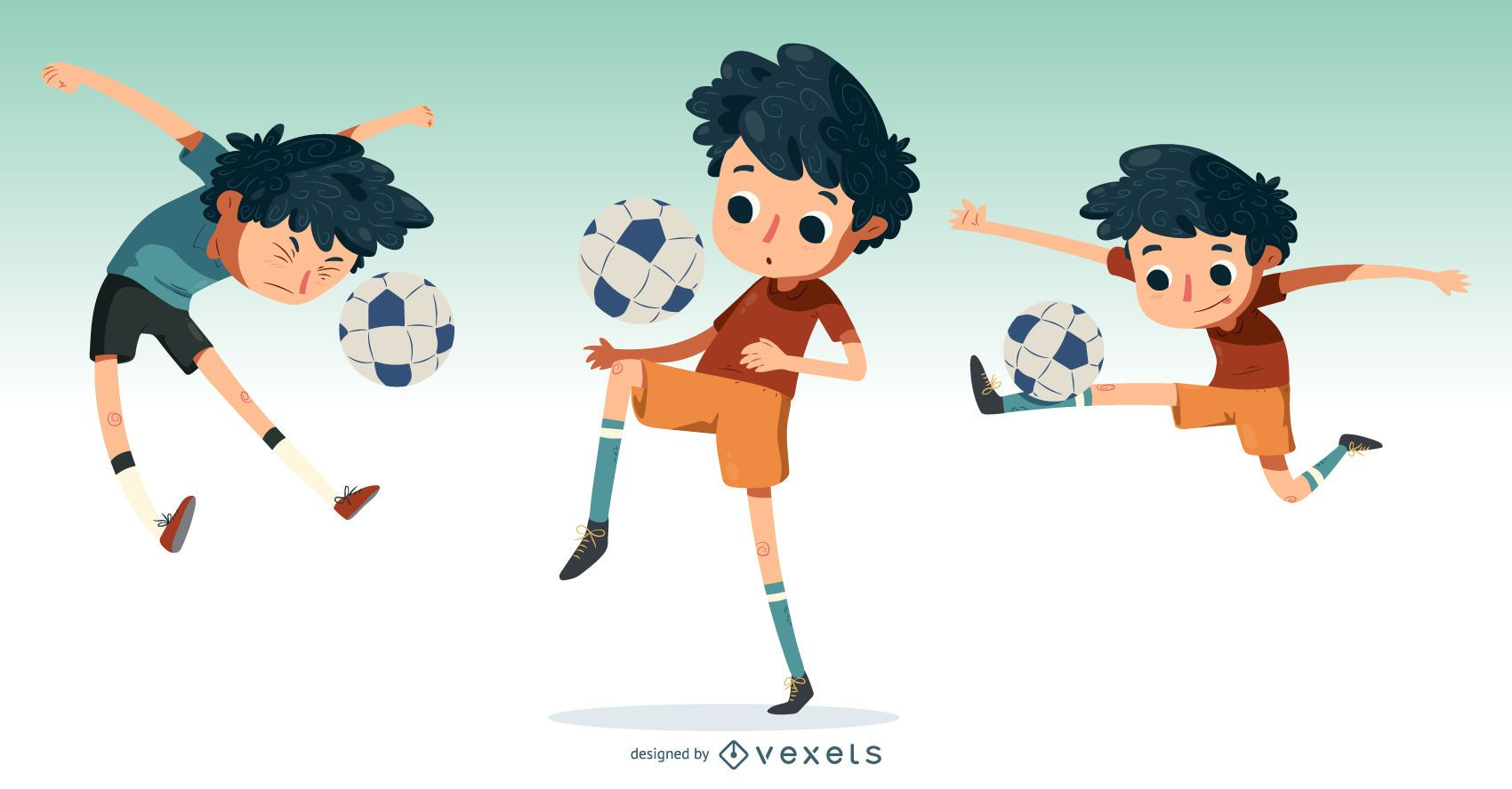 Kleiner Junge Der Fussball Illustration Spielt Vektor Download