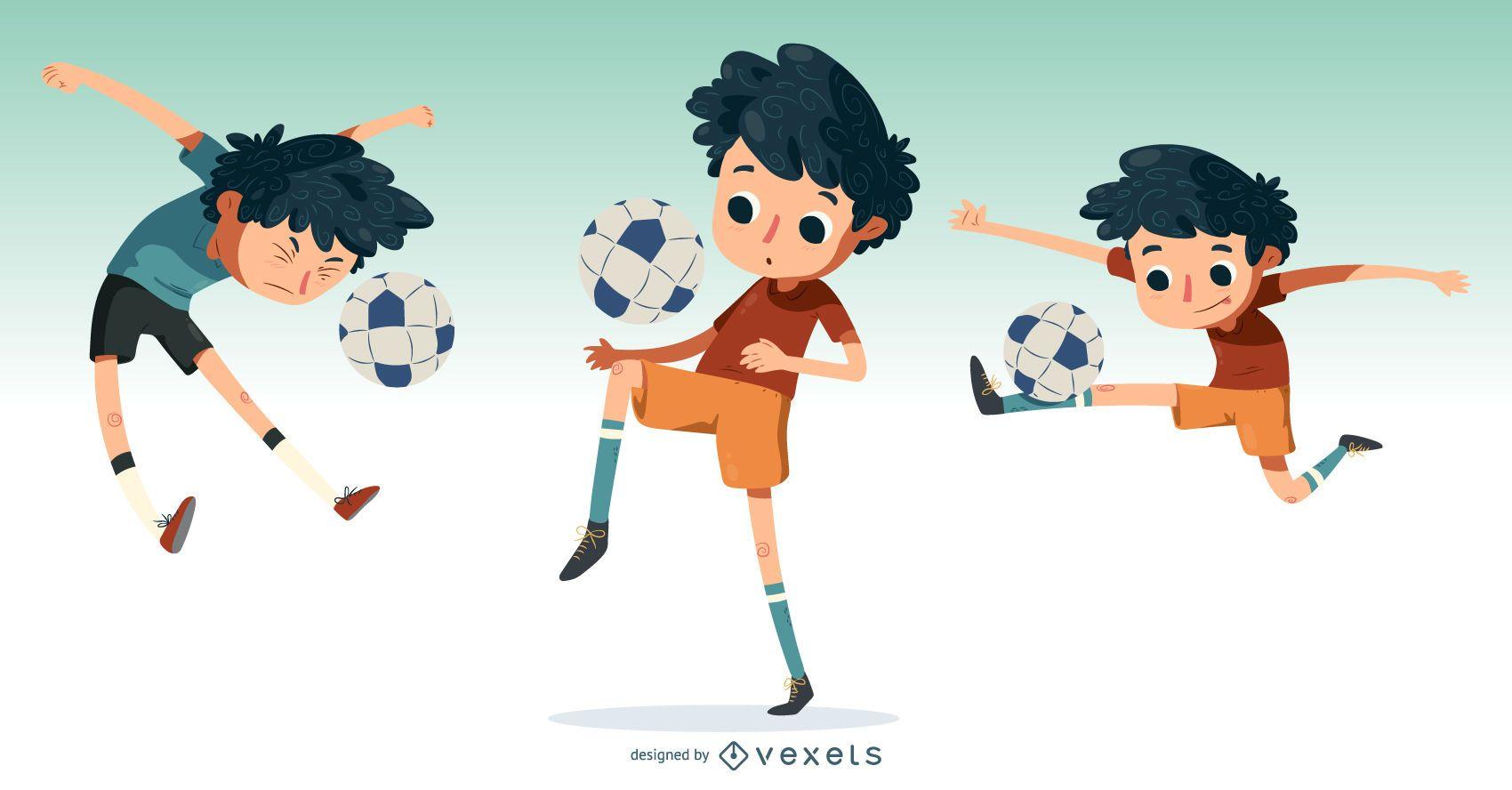 Niño pequeño jugar al fútbol ilustración