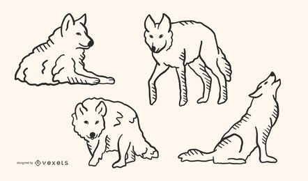 Conjunto de Design de lobo Doodle