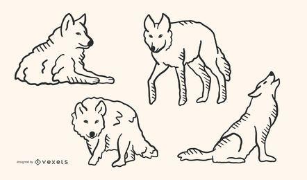 Lobo Doodle diseño conjunto