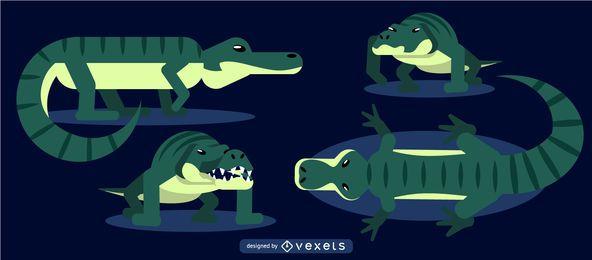 Krokodil abgerundete flache geometrische Set