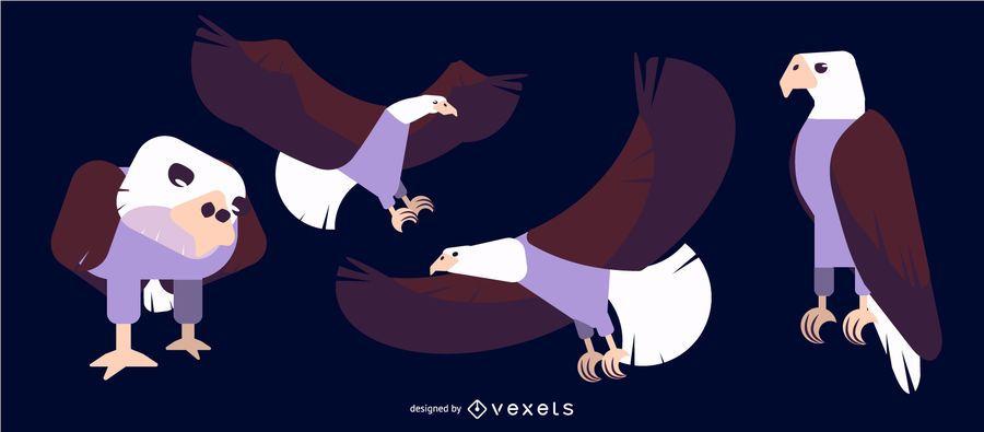 Águila redondeada plana